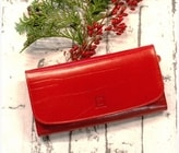 Červená kožená peněženka 03-09 Dámská luxusní peněženka