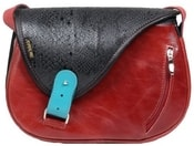 Kožená kabelka MOUSE 091 červená kabelka na rameno
